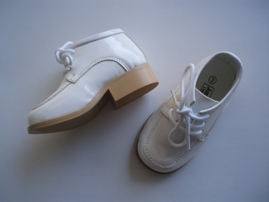 Close-Out Infant White Patent Leather Shoes - Square Toe