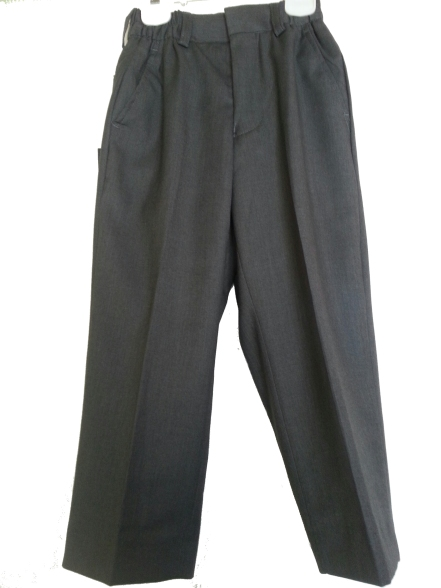 Boys Charcoal Gray Poly-Rayon Dress Pants