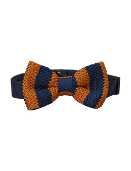 Preppy Boys Knitted Bow Tie - Burnt Orange & Navy