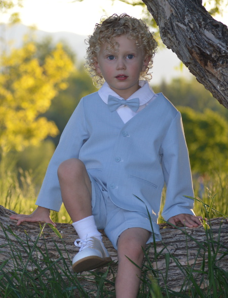 Lot Infants Eton Suit w Lomg Walking Shorts - Lt Blue
