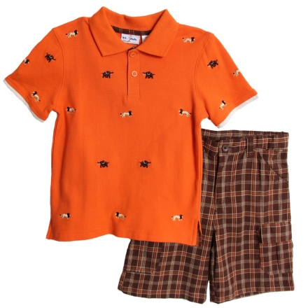 BT Kids Orange Safari Polo & Plaid Shorts Set