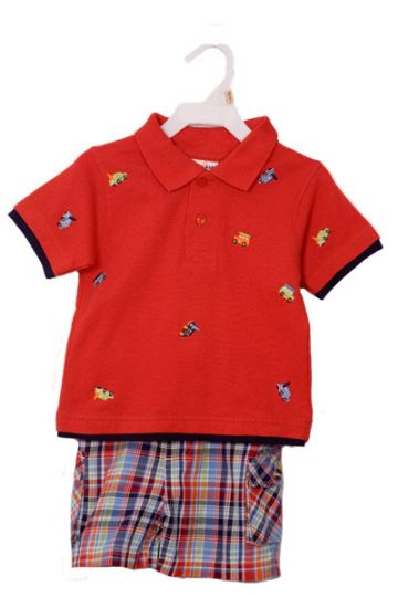Boys Embroidered Red Polo and Plaid Shirts Set