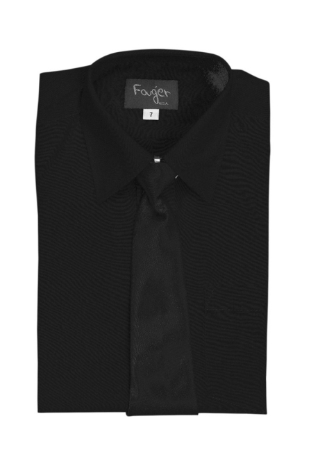 Boys Long Sleeve Dress Shirt & Tie - Black