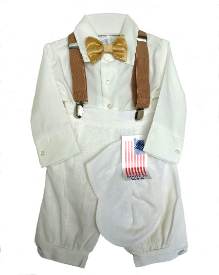 *Exclusive* Boys Ivory Knicker Set w Gold Bow Tie