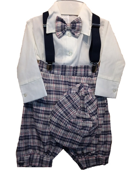 Navy Check Vintage Style Knickerbocker Set 6 mo *Sale*