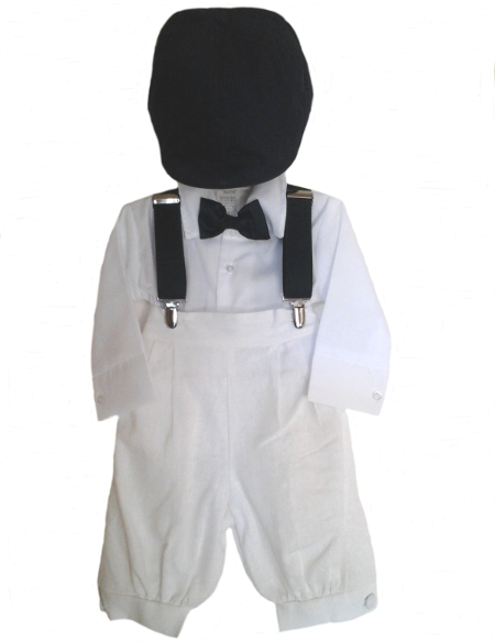 *Exclusive* Boys White Knicker Set With Navy Accent Wear