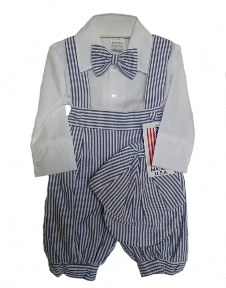 *Sale* Boys Blue Striped Seersucker Knicker Set