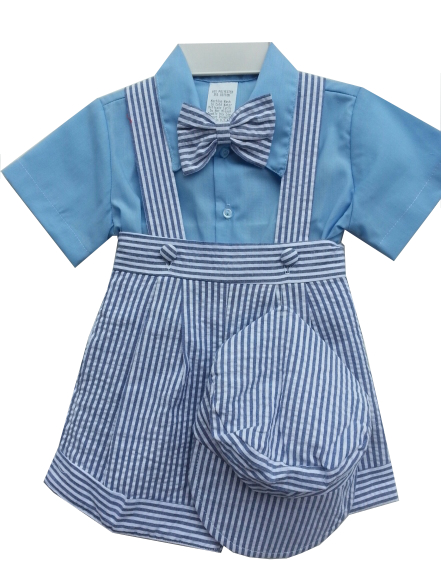 Blue Shirt / Blue Seersucker Outfit - 24 mo *Sale*