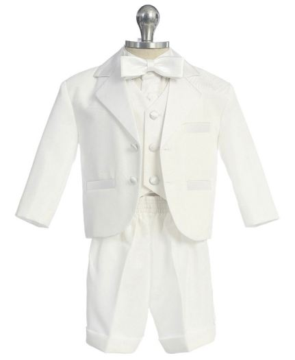 Boy's 5-Piece Tuxedo With Shorts - White