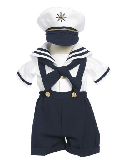 3 - Piece Infant Sailor Short Set in Navy