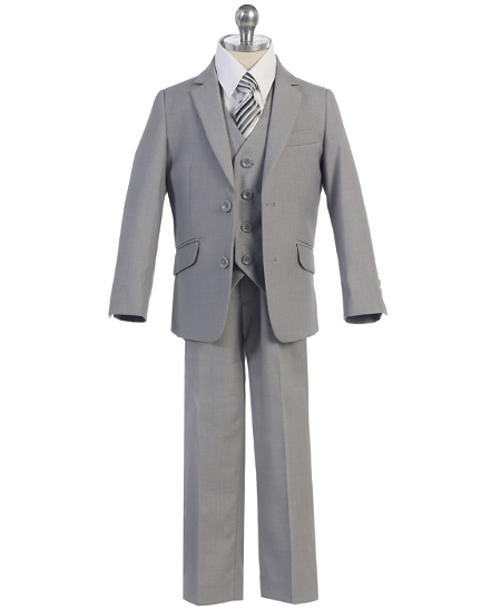 *New* Boys Medium Gray Slim Cut 5-Piece Suit