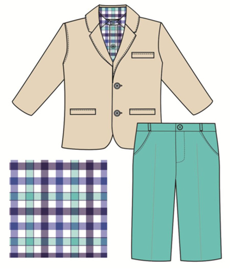 Good Lad 3 Piece Boys Blazer, Button-Down Shirt & Pants - Khaki