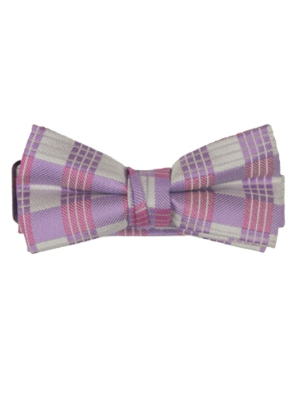 Isaac Mizrahi Designer Boy's Silk Bow Ties - Lavender Plaid