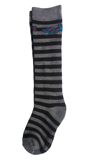 Boys Stripe Knee Socks - Gray