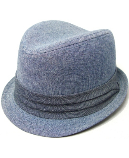 Chambray Denim Fedora w Gray Band