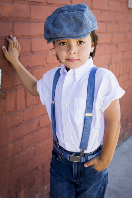 3 Pc Set Denim Gatsby Cap w Elastic Suspenders and Belt