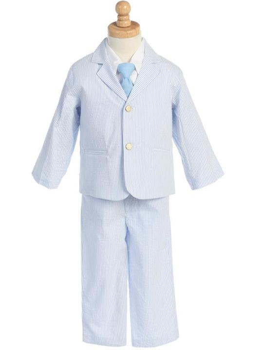 Striped Seersucker 4 Pc Suit - Light Blue