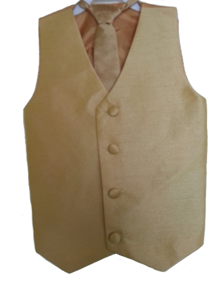 Silk Vest w Wrap Around Long Tie - Gold