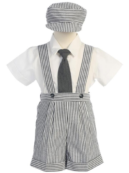 **Sale** Striped Seersucker Suspendered Shorts Set