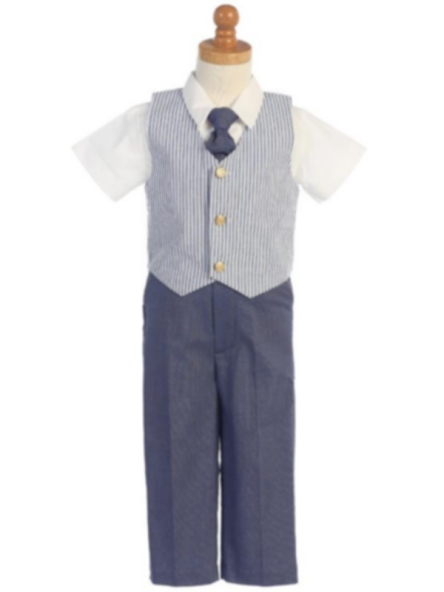 Striped Seersucker Vest & Pants Set - Blue
