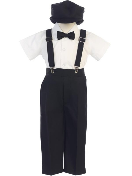 Ring Bearer Pants / Suspenders Set - Black