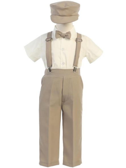 Ring Bearer Pants / Suspenders Set - Khaki