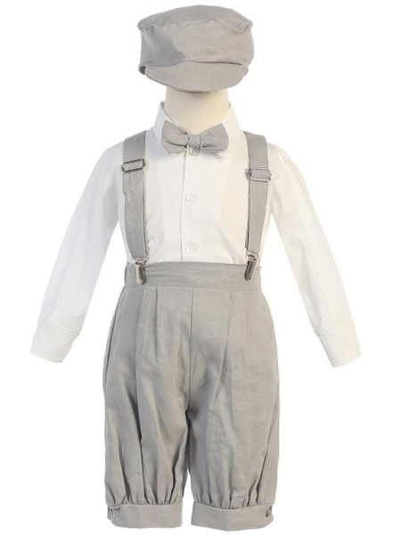 **NEW** Boys Rayon-Linen 5 Piece Knicker Set - Light Gray