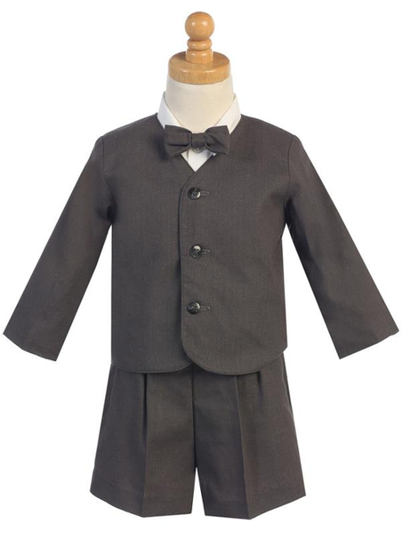 Rayon-Linen Eton Jacket and Shorts Set - Charcoal