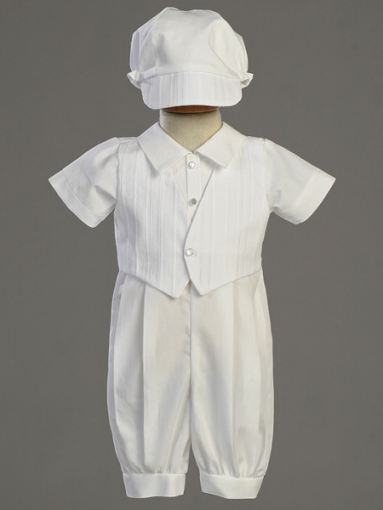 Lito  Cotton Christening Romper Vest  & Hat