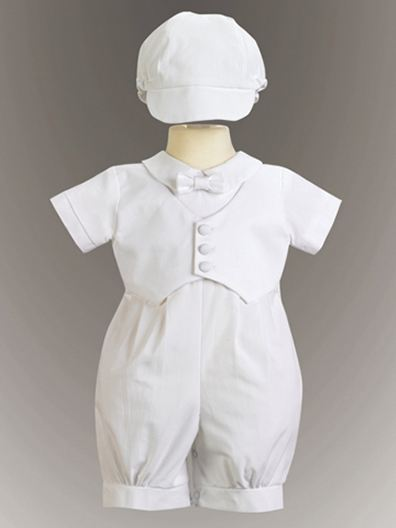3 - Piece Cotton Christening Romper With  Vest SALE