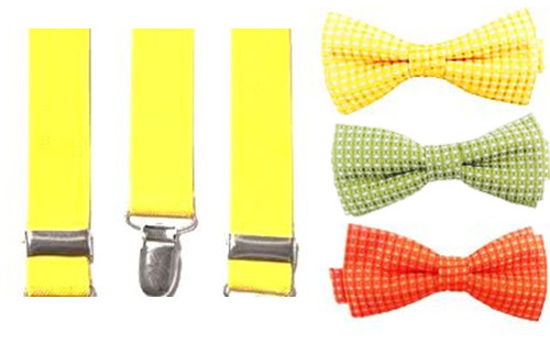 Citrus Cooler Bow Tie & Suspenders Set - Lemon Frost