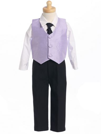 Lilac Poly-Silk 4 Pc Boys Formal Vest Set