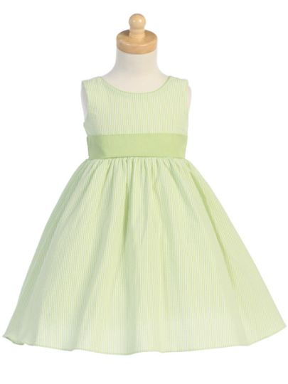 Sister Striped Seersucker Dress - Green