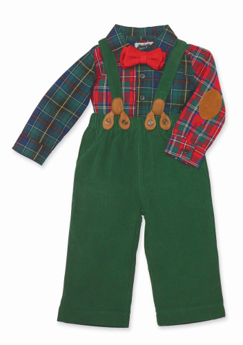 3 Pc Holiday Infant Plaid and Green Pants Set