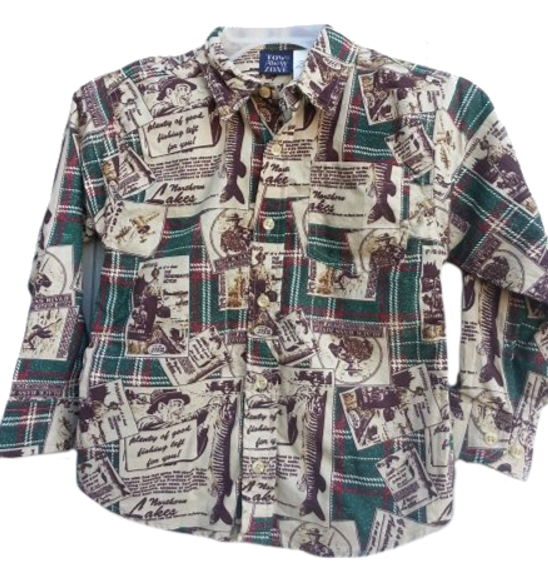 Boys Retro Fishing Pattern Button Down Shirt