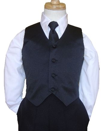 2 Piece - Black Vest & Long Tie OR Bow Tie