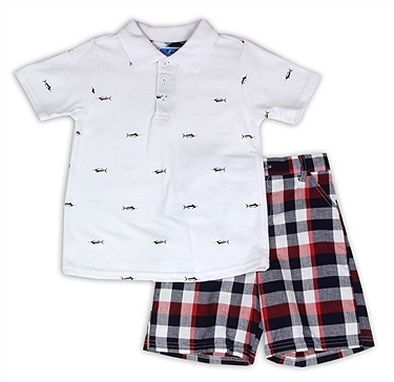 WEEPLAY Boys Swordfish Polo Short Set