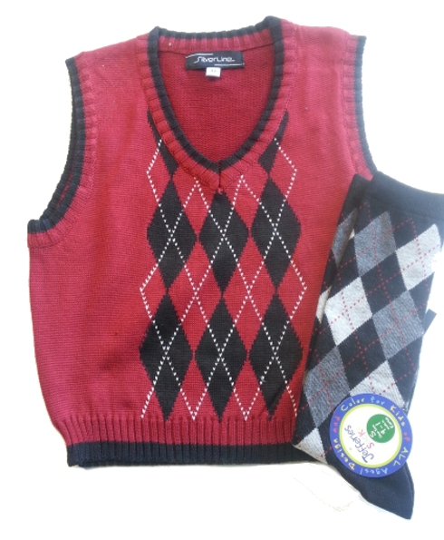 Toddler Argyle Sweater Vest & Socks - Red