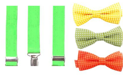 Citrus Cooler Bow Tie & Suspenders Set - Sublime Lime