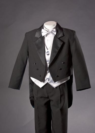 Boys Black Tuxedo with Tails and Silver Vest Set