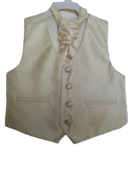 English Vest w Ruche Tie Cravat - Champagne