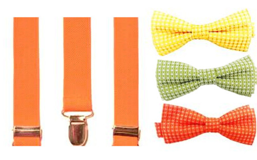 Citrus Cooler Bow Tie & Suspenders Set - Tangerine Splash