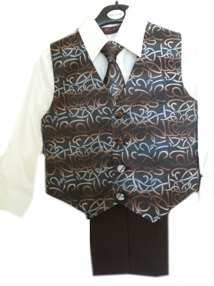 Lot Boys Brown Microfiber 4 - Pc  Vest & Slacks Set