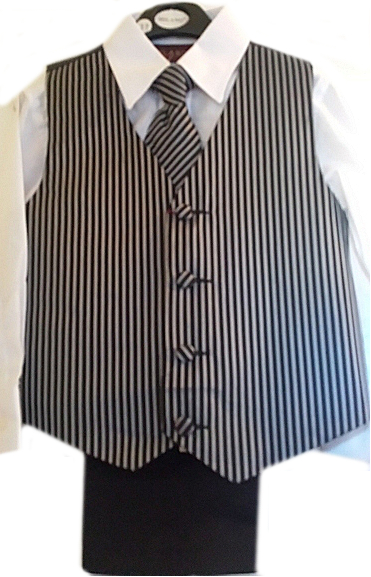 Black Striped Milano Microfiber Vest & Slacks Suit