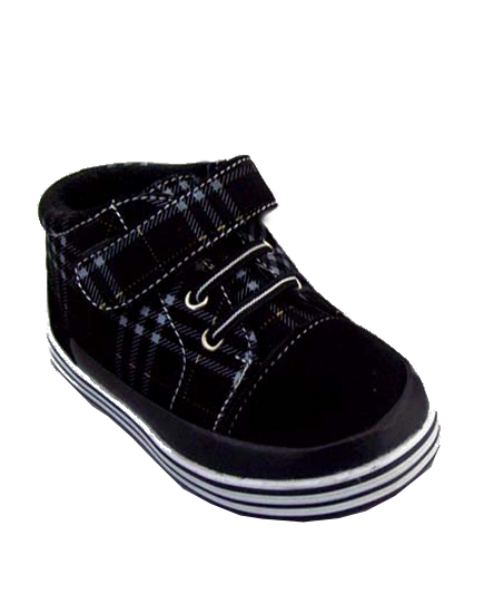 **Blow-Out Sale** Infant/Toddler Black Plaid Velcro Strap Sneakers