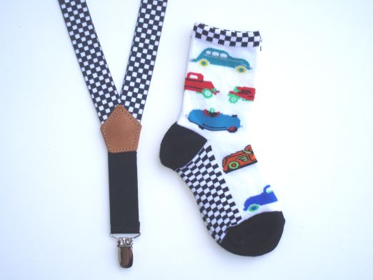Car Socks And Racer Checks Suspenders Gift Set