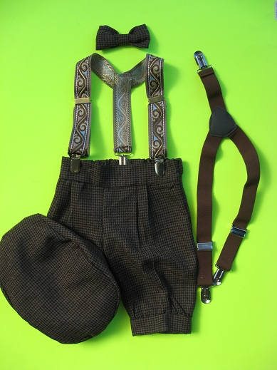 One of a Kind  Brown Check Knicker Set & 2 Suspenders