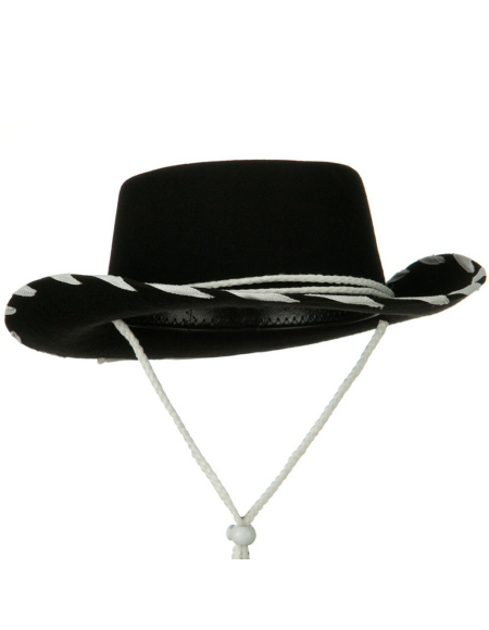 Cowboy Hat in Wool Felt w Contrast Trim  - Black