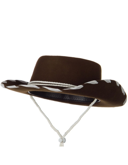 Cowboy Hat in Wool Felt w Contrast Trim - Brown