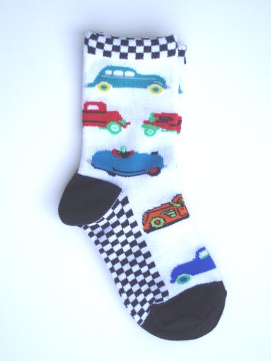 Checked Retro Car Socks - Toddler